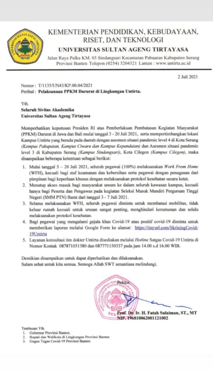 Pelaksanaan PPKM Darurat Di Lingkungan Untirta