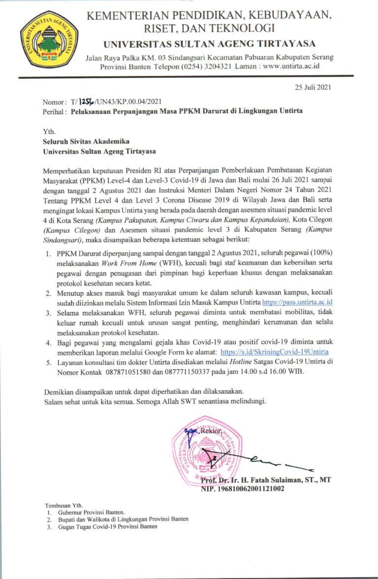 Pelaksanaan Masa Perpanjangan PPKM Darurat di Lingkungan Untirta (Kedua)
